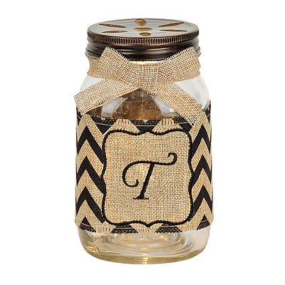 Mason Jar Monogram T Night Light