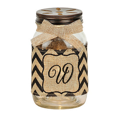 Mason Jar Monogram W Night Light