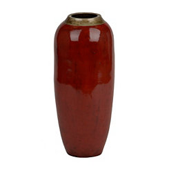 Slim Papaya Red Floor Vase