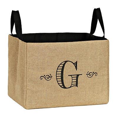 Stitched Monogram G Burlap Storage Bin