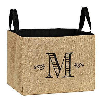 Stitched Monogram M Burlap Storage Bin