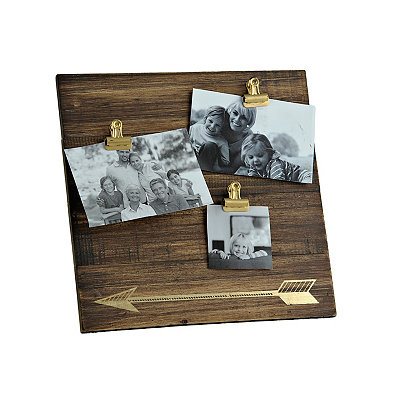 Gold Arrow Wood Plank 3-Clip Collage Frame