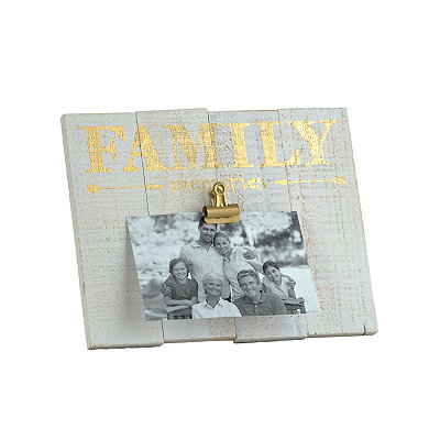 Family Memories Wood Plank Clip Picture Frame
