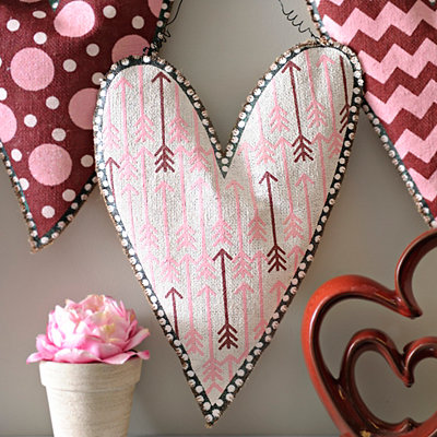 Burlap Arrow Heart Wall Hanger