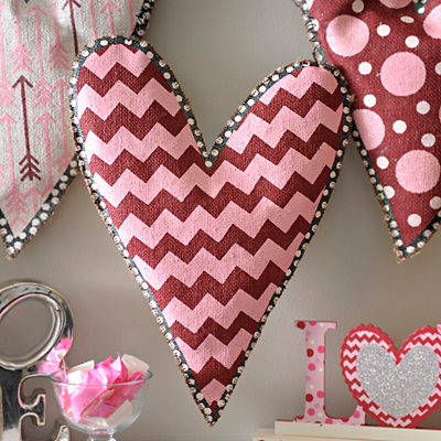 Burlap Chevron Heart Wall Hanger