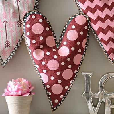 Burlap Polka Dot Heart Wall Hanger