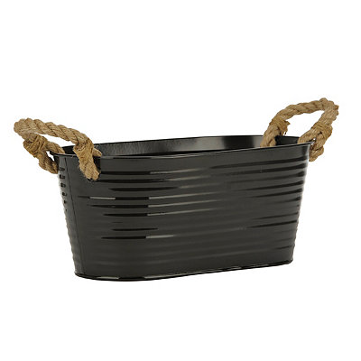 Black Oval Metal Tub with Rope Handles