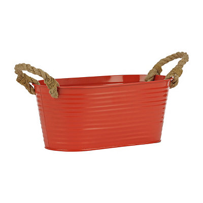 Red Oval Metal Tub with Rope Handles
