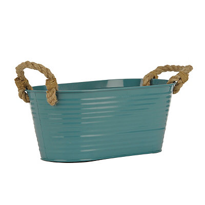 Turquoise Oval Metal Tub with Rope Handles
