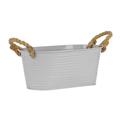 White Oval Metal Tub with Rope Handles
