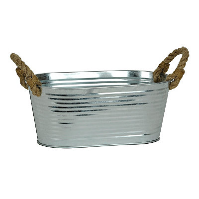Galvanized Oval Metal Tub with Rope Handles