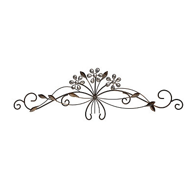Bronze Jeweled Floral Metal Plaque