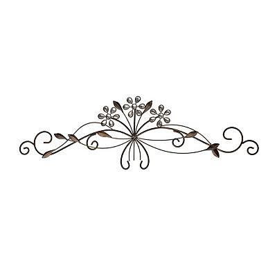 Bronze Jeweled Floral Metal Plaque