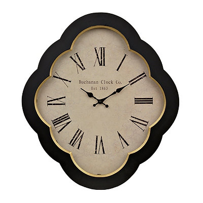 Black Scalloped Wooden Clock