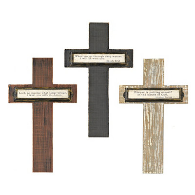 Distressed Inspirational Wooden Crosses