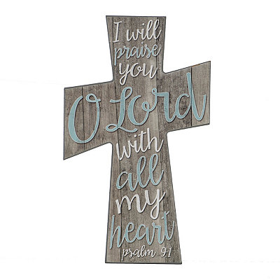 With All My Heart Decorative Cross Plaque