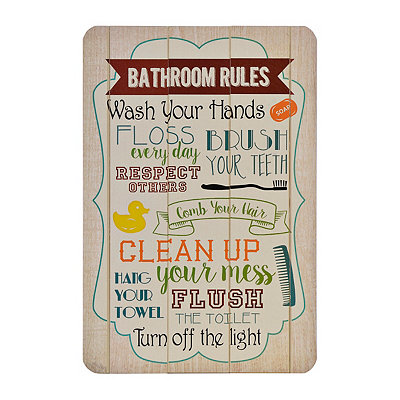 Bathroom Rules Wood Plank Plaque