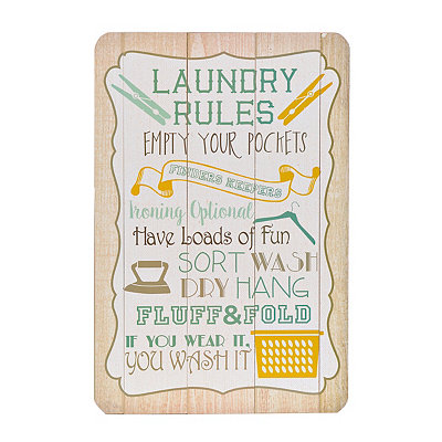 Laundry Rules Wood Plank Plaque