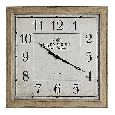 Square Weathered Pine Clock