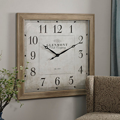 Square Weathered Pine Clock