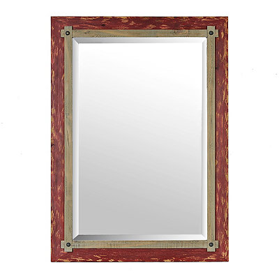 Barnwood Red Framed Mirror, 31x43 in.