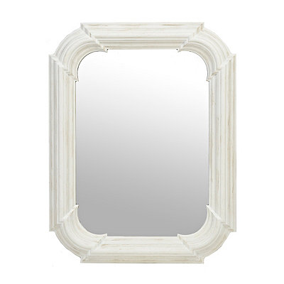 Distressed White Art Deco Mirror