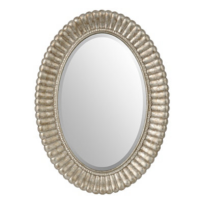 Cleopatra Silver Oval Framed Mirror, 22x30 in.