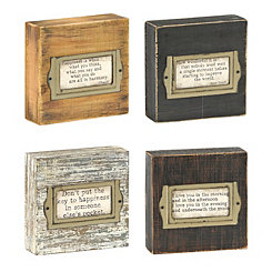 Distressed Wood and Metal Sentiment Block Plaques