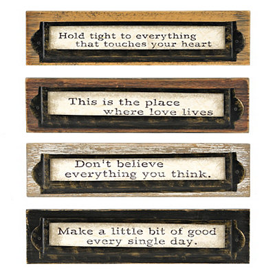Distressed Wood and Metal Sentiment Plaques
