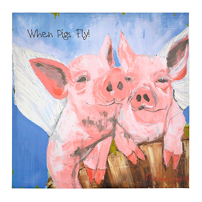 When Pigs Fly Canvas Art Print, 14x14