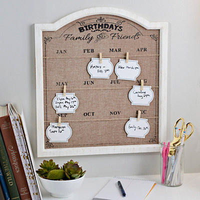Burlap Birthday Organizer Plaque