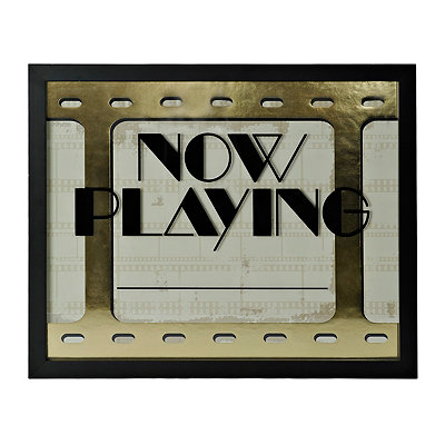 Gold Now Playing Dry Erase Plaque