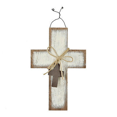 Distressed White Hanging Centerpiece Cross