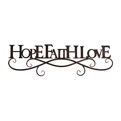 Black Hope Faith Love Metal Plaque