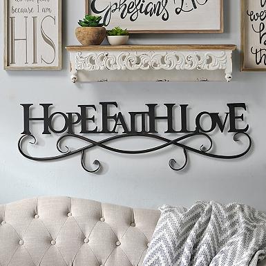 black hope faith love metal plaque - Bedroom Wall Plaques