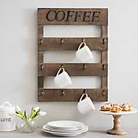 Coffee Mug Hanger Wood Plank Plaque