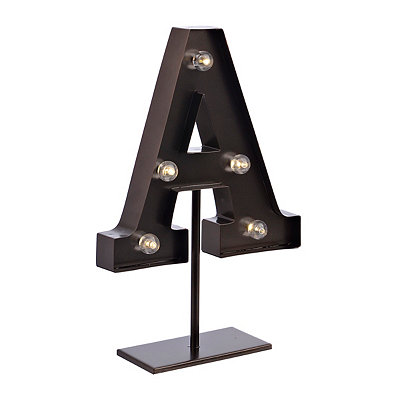 Bronze Monogram A LED Metal Statue