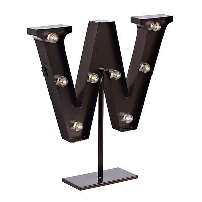 Bronze Monogram W LED Metal Statue