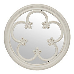 Distressed White Floral Mirror