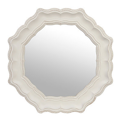 Emma Distressed White Octagon Mirror