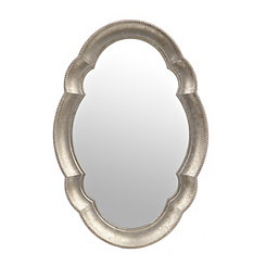 Silver Scalloped Oval Mirror