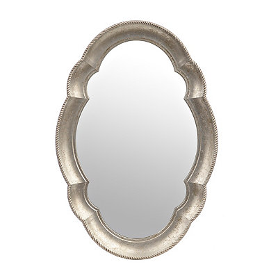 Silver Scalloped Oval Mirror, 21x31