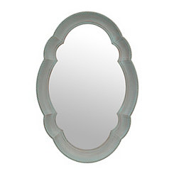Scalloped Teal Oval Mirror