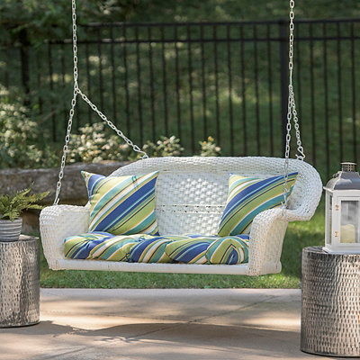 Savannah White Wicker Porch Swing