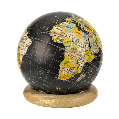 Black Globe with Wood Ring Stand