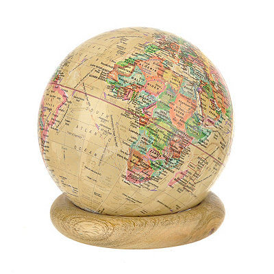 Tan Globe with Wood Ring Stand