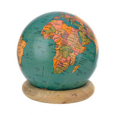 Turquoise Globe with Wood Ring Stand
