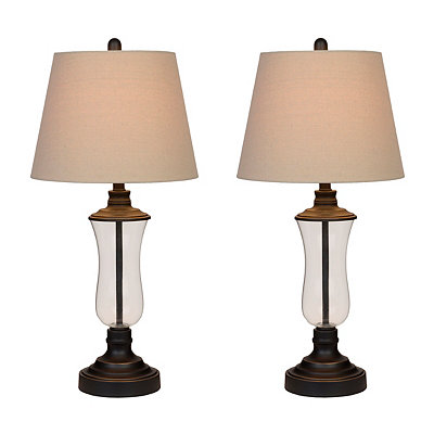 Bronze and Glass Table Lamps, Set of 2