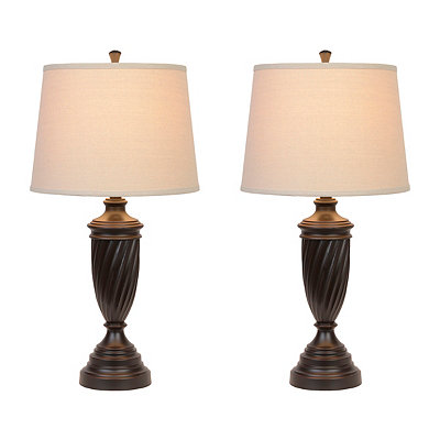 Oiled Bronze Twist Table Lamps, Set of 2