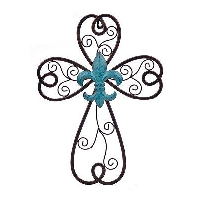 Blue Fleur-de-Lis Metal Cross